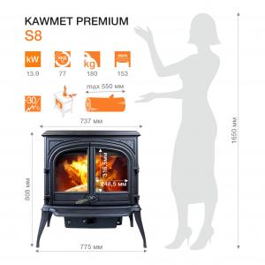 Чавунна піч KAWMET Premium S8 (13,9 kW)