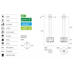 Дизайнерский камин Rocal Ronde Central подвесной вариант