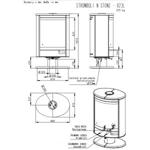 Камінна піч Romotop STROMBOLI N01 (сталевий корпус натуральний камінь зверху і з боків) обертання на 360
