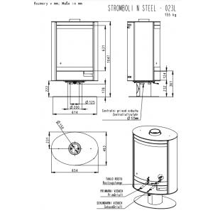 Камінна піч Romotop STROMBOLI N03 (сталевий корпус) обертання на 360