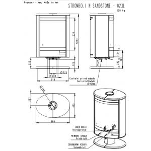 Камінна піч Romotop STROMBOLI N04 (сталевий корпус песчанник зверху і з боків) обертання на 360