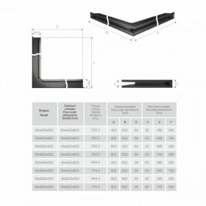 Вентиляційна решітка для каміна кутова ліва SAVEN Loft Angle 6х40х60 біла