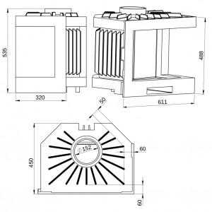 Unica Corner Monolity Tarnavva 14кВт монолітна кутова камінна топка